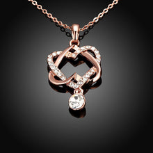 Load image into Gallery viewer, Swarovski Crystal 18K Rose Plated Intertwined Hearts Necklace - shoppingandfreebies