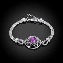 Load image into Gallery viewer, Swarovski Crystal Amethyst Centerstone Bracelet in 18K White Gold Plated - shoppingandfreebies