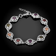 Load image into Gallery viewer, Swarovski Crystal Mona Lisa Bracelet in 18K White Gold Plated - shoppingandfreebies