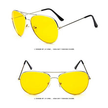 Load image into Gallery viewer, Classic Sunglasses Women Brand Designer Fashion Pilot Yellow Lens Glasses Men Retro Driving Sun glasses Vintage Metal Eyewear - shoppingandfreebies