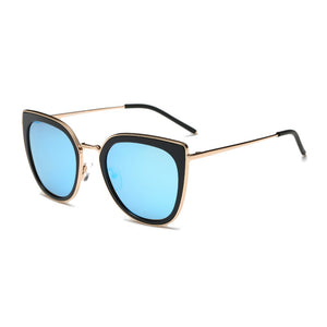 Women Polarized Retro Vintage Mirrored Round Cat Eye Oversized Fashion Sunglasses - shoppingandfreebies
