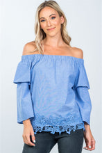 Load image into Gallery viewer, Boho Off Shoulder Crochet Hem Top - shoppingandfreebies