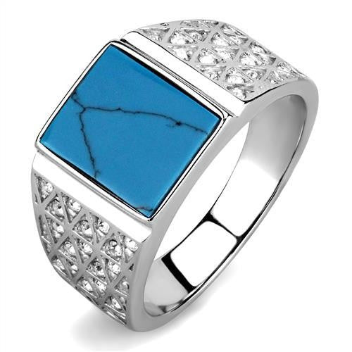 TK3004 High polished (no plating) Stainless Steel Ring with Synthetic in Sea Blue - shoppingandfreebies