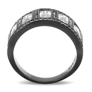 TK3168 IP Black(Ion Plating) Stainless Steel Ring with AAA Grade CZ in Clear - shoppingandfreebies