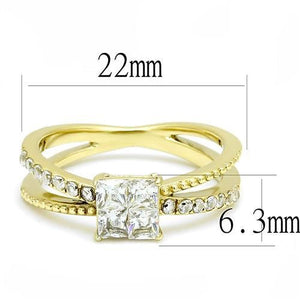 TK3181 IP Gold(Ion Plating) Stainless Steel Ring with AAA Grade CZ in Clear - shoppingandfreebies