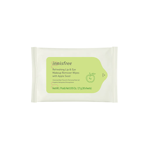 Refreshing lip eye makeup remover wipes with apple seed