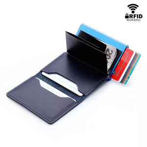 TOCARDS - RFID Blocking 100% Genuine Leather Credit Card Holder Aluminum Mini Wallet for Men - aleathershop