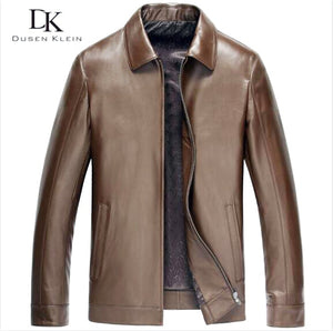 Dusen Klein - Men Genuine Leather Jacket Business Style - aleathershop