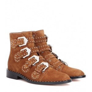 ARQA - Brand New Buckle Suede Leather Women's Ankle Boots - aleathershop