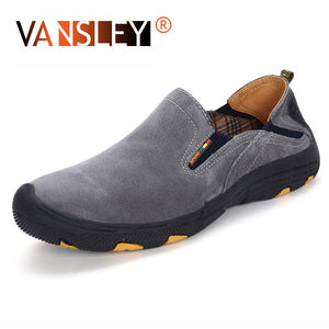 VANSLEY - Men'S Casual Slip On Genuine Leather Suede Walking Shoes