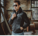 FLAVOR - Leather Jacket Men Motorcycle Removable Hood - aleathershop