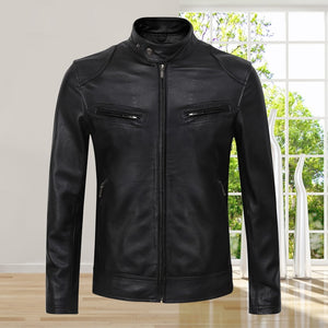 AIBIANOCEL - 2019 Cow Leather Motorcycle Jacket - aleathershop