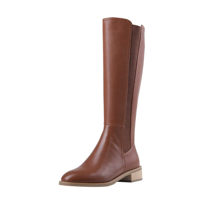 Meotina - Autumn Riding Women Genuine Leather Knee High Boots - aleathershop