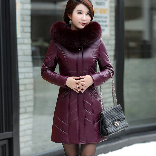 SUHUAI -  2019 Women's Genuine Leather Coat - Plus Size L-8XL - aleathershop