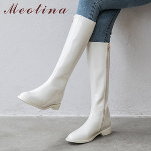 Meotina - Winter Riding Genuine Leather Zip Flat Knee High Boots - aleathershop