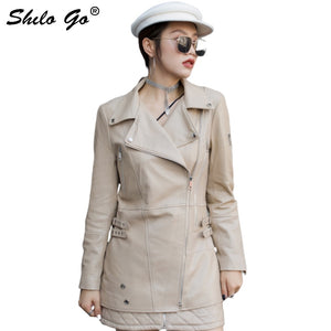 SHILO - Genuine Leather Jacket Multicolor Highstreet Notched Neck Jacket - aleathershop