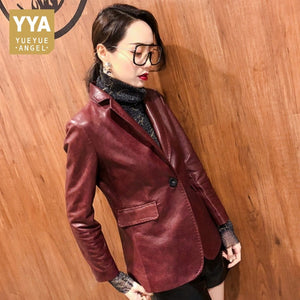 YYA - 2019 Autumn Women Genuine Leather Blazer - aleathershop