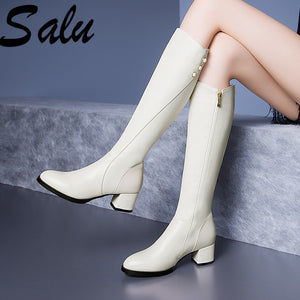 SALU - Women Knee High Leather Boots - aleathershop