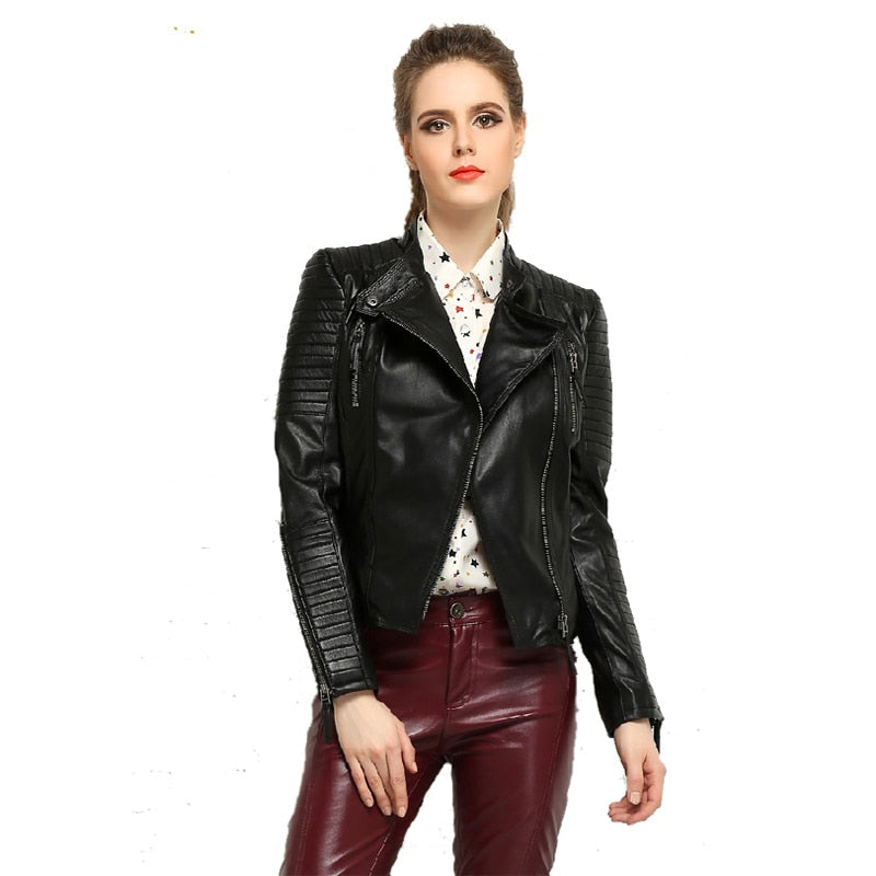 MAPLESTEED - Genuine Leather Slim Fit Punk Jacket - aleathershop