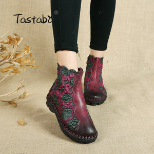 Tastabo - Folk Style Martin Genuine Leather Women's Ankle Boots - aleathershop