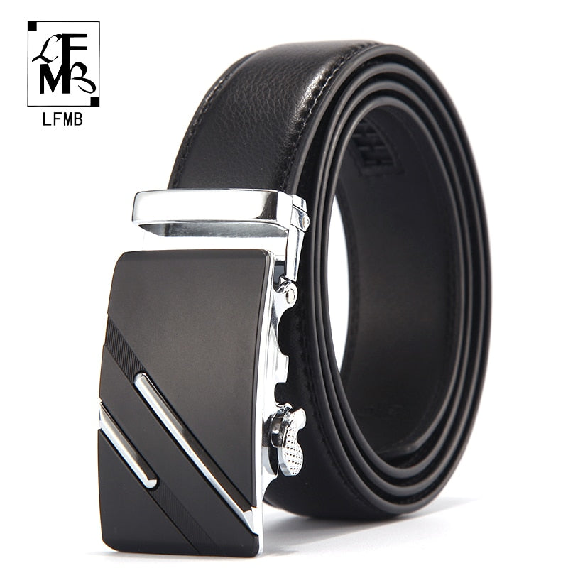 [LFMB] Top Quality Genuine Luxury Leather Belts with Automatic Buckle - aleathershop