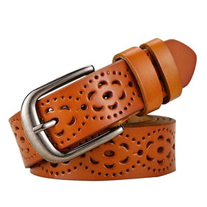 Women Fashion Wide Genuine Leather Belt Floral Carved - Vintage Ceinture Femme - aleathershop