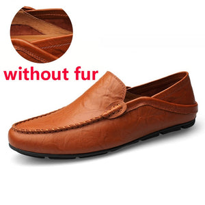 JINTOHO - Slip-On Casual Men Loafers Genuine Leather - Big & Tall - aleathershop