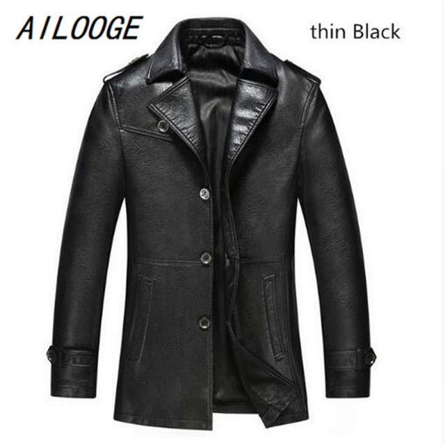 AILOOGE - Winter Leather Genuine Leather Slim Casual Jacket - aleathershop
