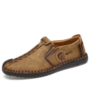MVVT - Classic Comfortable Men Quality Split Leather Casual Loafers - aleathershop