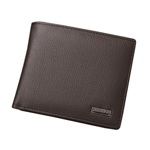 JINBAOLAI - Genuine Leather Men Waterproof Short Design ID Card Wallet - aleathershop