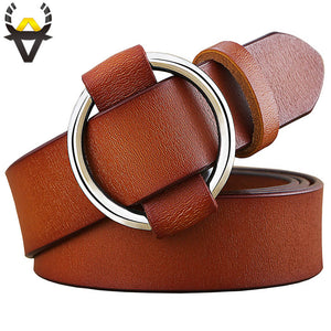 Fashion Round Ring Buckle Belt - aleathershop