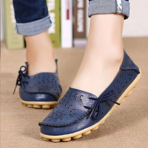 Women Genuine Leather Shoes Slip On Loafers - aleathershop