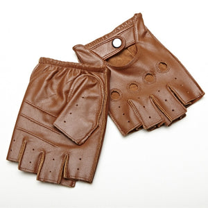 Genuine Leather Half Finger Gloves Breathable Driving - aleathershop