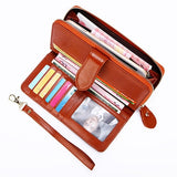 Dreamlizer - Leather Women Wallet - Large Compartment Long Leather - aleathershop