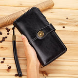 Genuine Leather Women Clutch Purse With Coin Wallet Real Genuine Leather - aleathershop