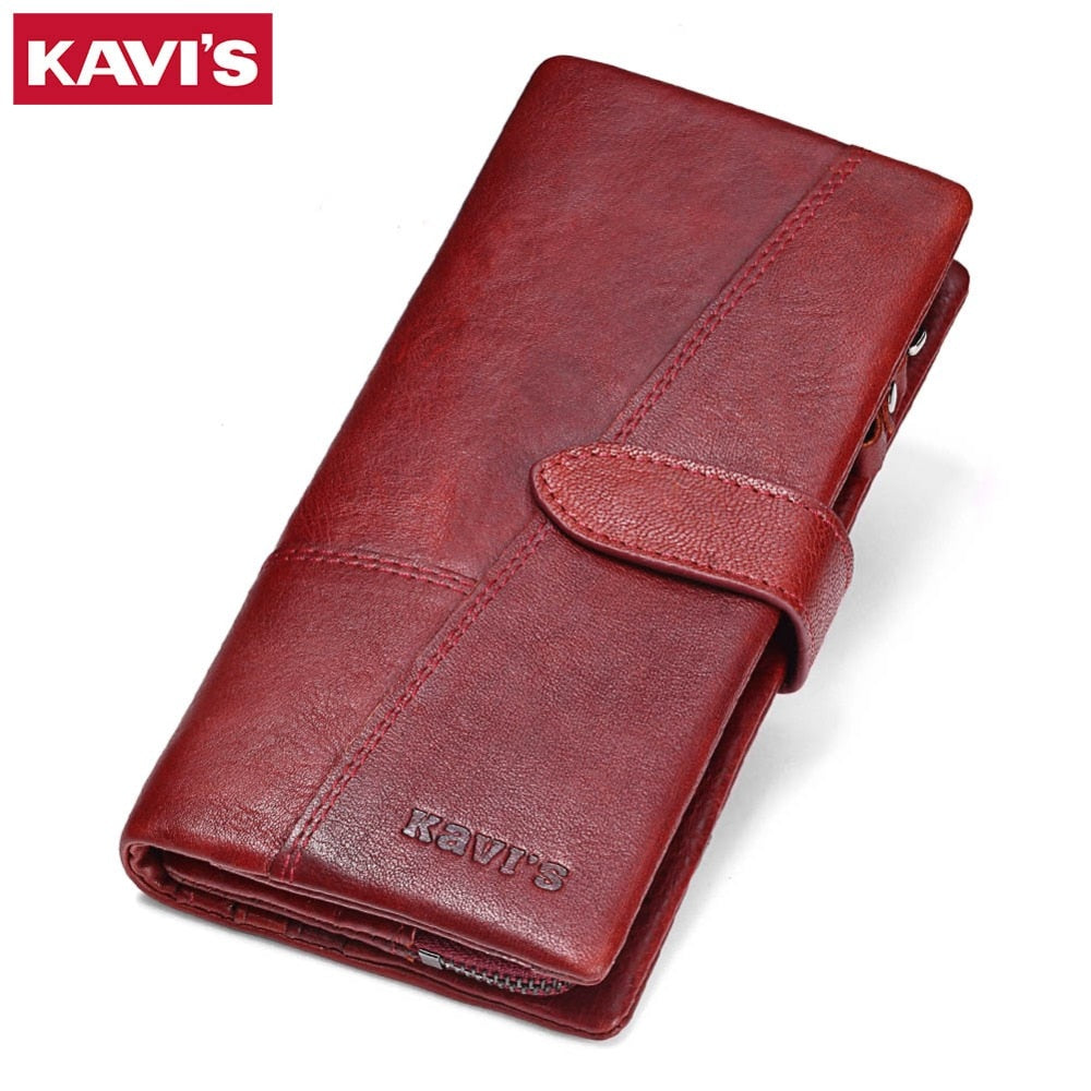 KAVIS - Rfid Blocking | Genuine Leather Long Clutch Women Wallet - aleathershop