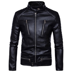 New Motorcycle Men Genuine Leather Vintage Retro Jacket - aleathershop