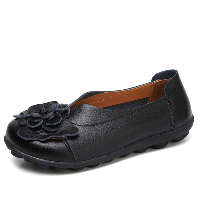 WENKOUBAN - Genuine Leather Women Flat Summer Loafers - aleathershop
