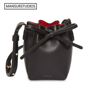MANSUR STUDIOS - MINI Bucket Leather Shoulder Bag - aleathershop