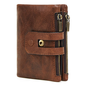 VEJIERY HOT Genuine Crazy Horse Leather Men Wallet Short Coin Purse Small Vintage - aleathershop