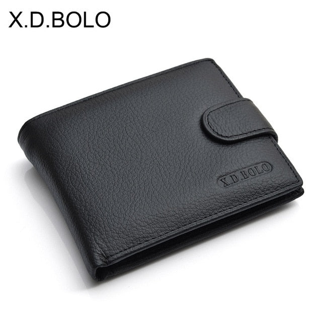 X.D.BOLO Wallet Men Leather Genuine Leather Man Wallets With Coin Pocket - aleathershop