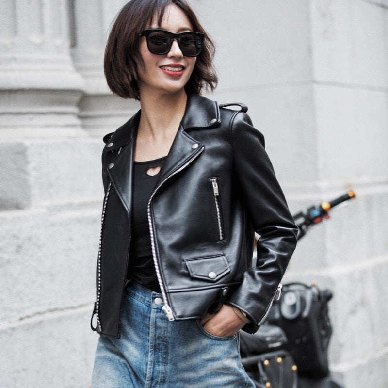 JX - 2019 Genuine Leather Motorcycle Women Jacket - aleathershop