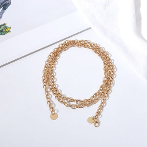 Women Fashion Belt Hip High Waist Gold Narrow Metal Chain Chunky Fringes - aleathershop