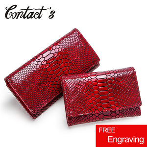 Women Clutch Wallets Genuine Leather Snake Pattern Print Long Coin Purse - aleathershop