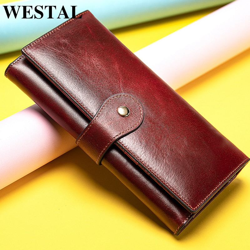 WESTAL - Women's Leather Long Wallet - aleathershop