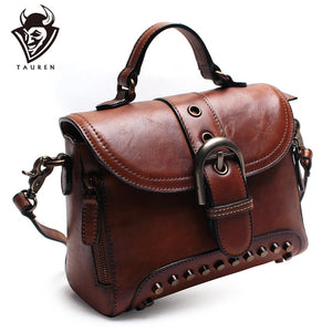 Tauren - Handmade Genuine Leather New Retro Rivet Vintage Handbag - aleathershop