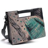 TAUREN - Handmade Italian Drawing Genuine Leather Shoulder Travel Bags For Women - aleathershop