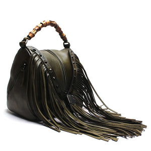 Tauren - Handmade High Quality Leather Handbag With Suede Leather Tassels - aleathershop