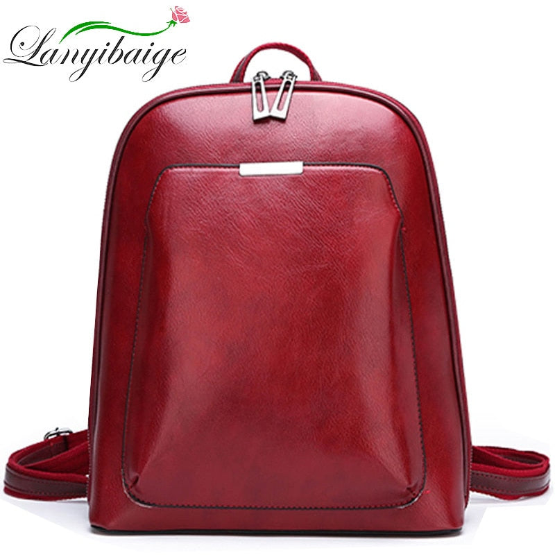 LANYIBAIGE - 2019 Women Leather Travel Shoulder Backpack - aleathershop