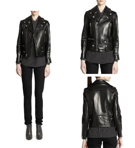 C&C - Genuine Leather woman Slim Motorcyle Jacket - aleathershop